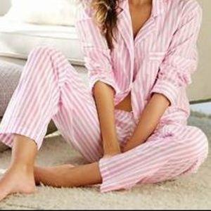 Victoria's secret pink white pajama 2 piece set VS